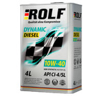 Масло моторное полусинтетическое ROLF Dynamic Diesel SAE 10w40 CI-4/SL API (4 л)